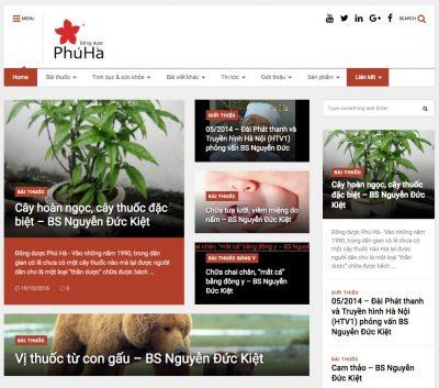Website của Đông dược Phú Hà (www.duocphuha.com) phiên bản 2016