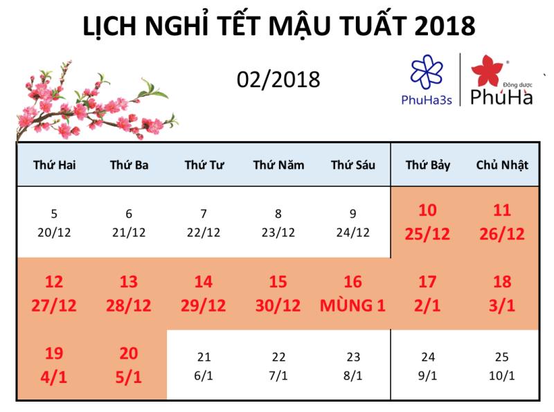 Thông báo lịch nghỉ Tết và chương trình khuyến mãi đặc biệt Mậu Tuất 2018
